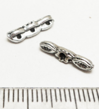 Tibetan Style Silver 3 hole small connectors x 20. 14mm x 2.5mm.